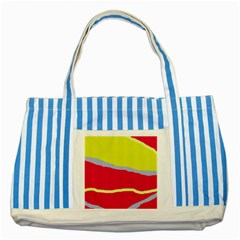 Red and yellow design Striped Blue Tote Bag