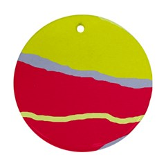 Red and yellow design Round Ornament (Two Sides)