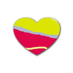 Red and yellow design Rubber Coaster (Heart)