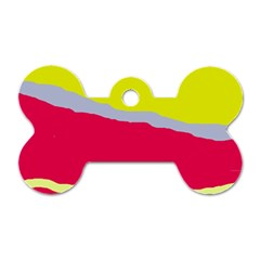 Red and yellow design Dog Tag Bone (Two Sides)