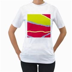 Red and yellow design Women s T-Shirt (White)