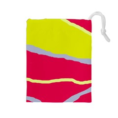 Red and yellow design Drawstring Pouches (Large)
