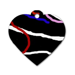 Decorative lines Dog Tag Heart (One Side)
