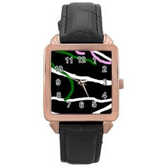 Decorative lines Rose Gold Leather Watch
