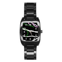Decorative lines Stainless Steel Barrel Watch