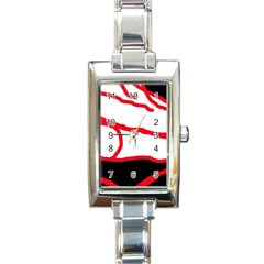 Red, black and white design Rectangle Italian Charm Watch