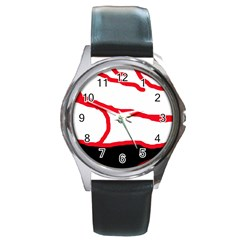 Red, black and white design Round Metal Watch