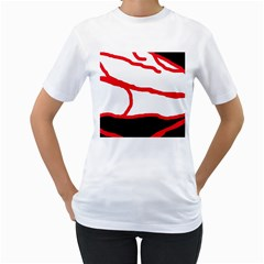 Red, black and white design Women s T-Shirt (White) (Two Sided)