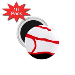 Red, black and white design 1.75  Magnets (10 pack)