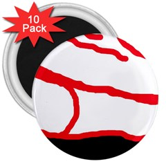 Red, black and white design 3  Magnets (10 pack)