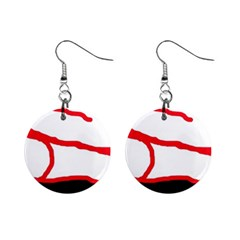 Red, black and white design Mini Button Earrings