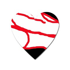 Red, black and white design Heart Magnet