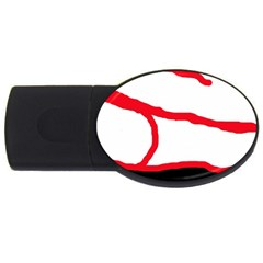 Red, black and white design USB Flash Drive Oval (1 GB)