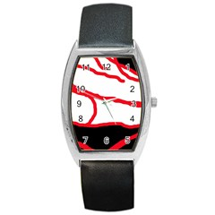 Red, black and white design Barrel Style Metal Watch