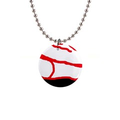 Red, black and white design Button Necklaces