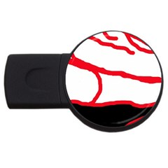 Red, black and white design USB Flash Drive Round (4 GB)
