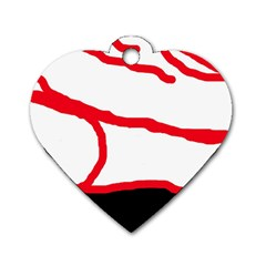 Red, black and white design Dog Tag Heart (One Side)