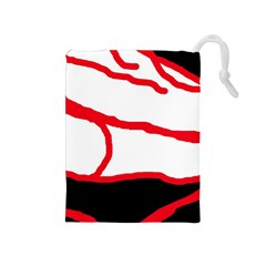 Red, black and white design Drawstring Pouches (Medium)