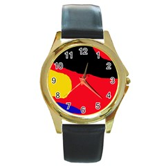 Colorful abstraction Round Gold Metal Watch