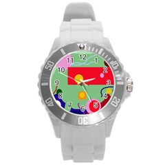 Optimistic abstraction Round Plastic Sport Watch (L)