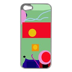 Optimistic abstraction Apple iPhone 5 Case (Silver)