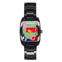 Optimistic abstraction Stainless Steel Barrel Watch