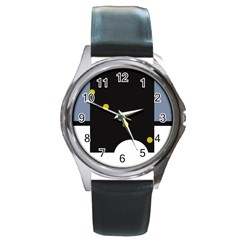 Abstract design Round Metal Watch