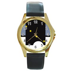 Abstract design Round Gold Metal Watch