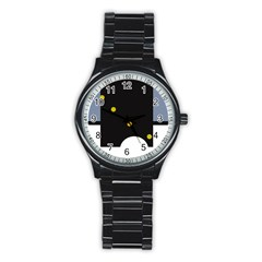 Abstract design Stainless Steel Round Watch