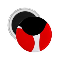 Red, black and white 2.25  Magnets