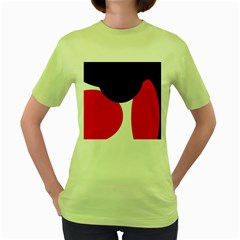 Red, black and white Women s Green T-Shirt