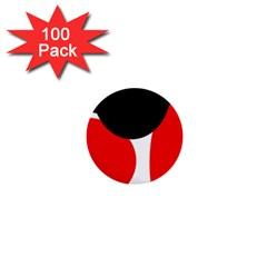 Red, black and white 1  Mini Buttons (100 pack)