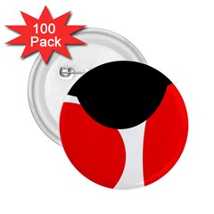 Red, black and white 2.25  Buttons (100 pack)