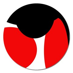 Red, black and white Magnet 5  (Round)