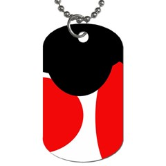 Red, black and white Dog Tag (One Side)