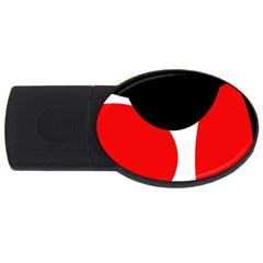Red, black and white USB Flash Drive Oval (1 GB)