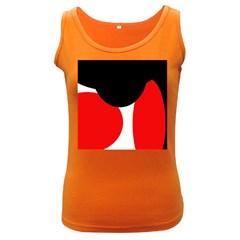 Red, black and white Women s Dark Tank Top