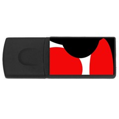 Red, black and white USB Flash Drive Rectangular (4 GB)