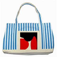 Red, black and white Striped Blue Tote Bag