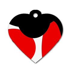 Red, black and white Dog Tag Heart (Two Sides)