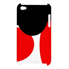 Red, black and white Apple iPod Touch 4