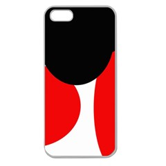 Red, black and white Apple Seamless iPhone 5 Case (Clear)