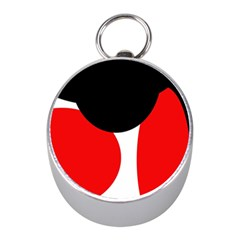 Red, black and white Mini Silver Compasses