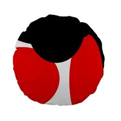 Red, black and white Standard 15  Premium Flano Round Cushions