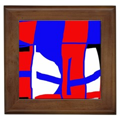 Blue, red, white design  Framed Tiles