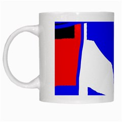 Blue, red, white design  White Mugs