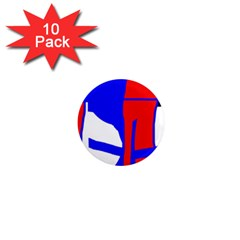 Blue, red, white design  1  Mini Magnet (10 pack)