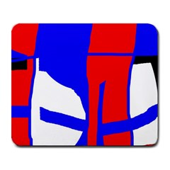 Blue, red, white design  Large Mousepads