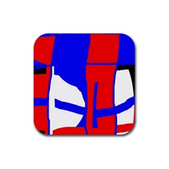 Blue, red, white design  Rubber Square Coaster (4 pack)