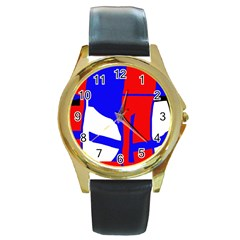 Blue, red, white design  Round Gold Metal Watch